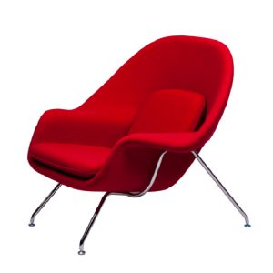 Saarinen Womb Chair and Ottoman Red