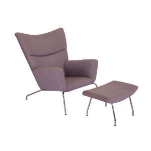 WEGNER Style WING CHAIR & OTTOMAN In Wool