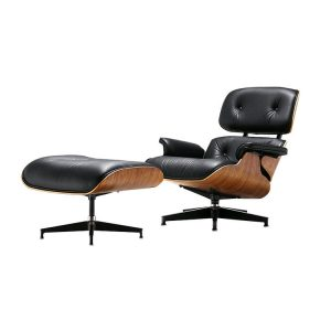 Eames Style Lounge Chair & Ottoman - Black